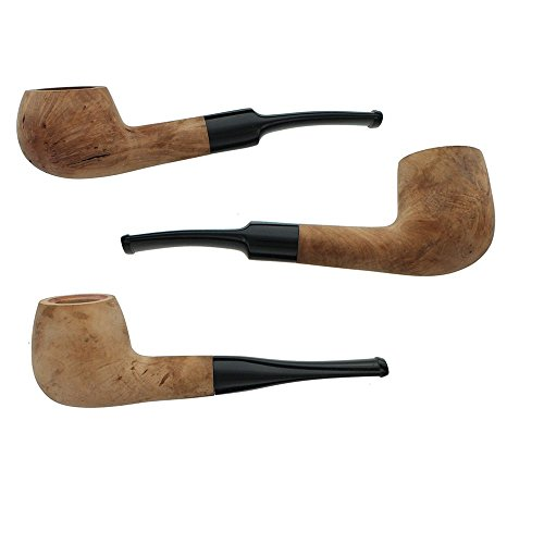 Briar Tobacco Pipe - Assorted 3 Pack of Straight Stem Smoking Pipes with Unfinished Bowls