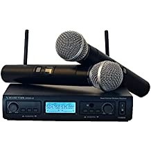Sound Town 200-Channel Professional UHF Wireless Microphone System with 2 Handheld Mics, for Church, Business Meeting, Outdoor Wedding and Karaoke (SWM20-U2HH)