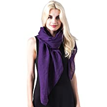 MissShorthair Womens Long Scarf in Solid Color Large Sheer Shawl Wraps for Evening