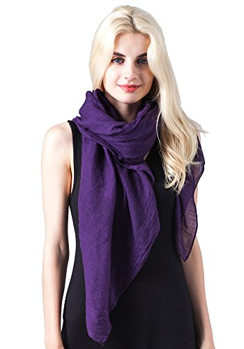 MissShorthair Womens Long Scarf in Solid Color Large Sheer Shawl Wraps for Evening(Purple)