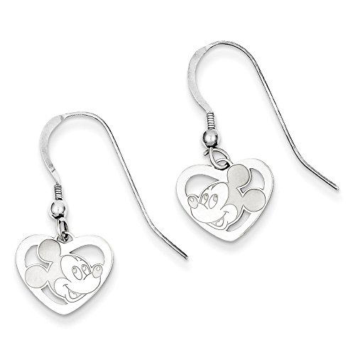 Mickey Dangle Wire Earrings - Roy Rose Jewelry Sterling Silver Mickey Mouse Heart Dangle Wire Earrings, Licensed