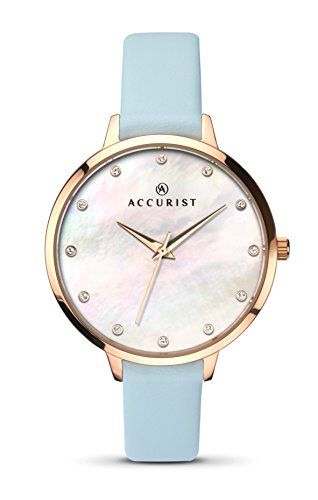 Accurist Ladies Analogue Watch With White Mother of Pearl Dial And Blue Strap 8155