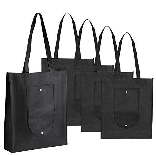 LEMESO Reusable Shopping Bags with Handle for Daily Outdoor & Fathers Day Gifts - Set of 5, Black