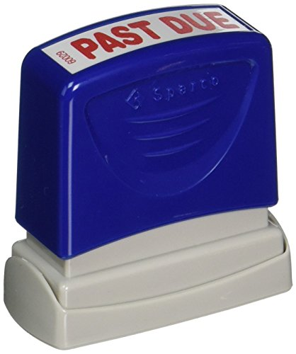 Sparco PAST DUE Title Stamp, 1-3/4 x 5/8 Inches, Red Ink (SPR60029) (Red Title Stamp)