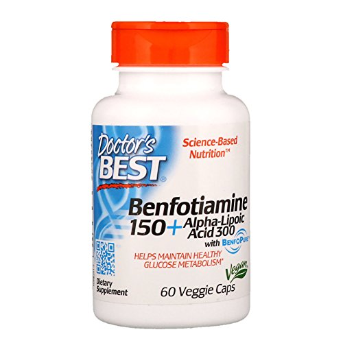Doctor's Best Benfotiamine 150 + Alpha-Lipoic Acid 300 with BenfoPure, Non-GMO, Vegan, Gluten Free, Promotes Healthy Blood Sugar, 60 Veggie Caps