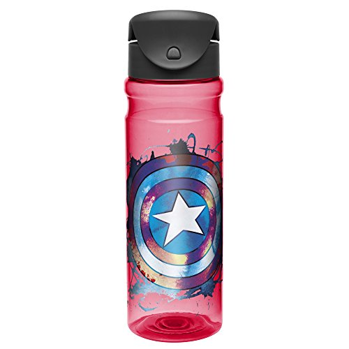 Captain America Water Bottle with Flip-top Cap