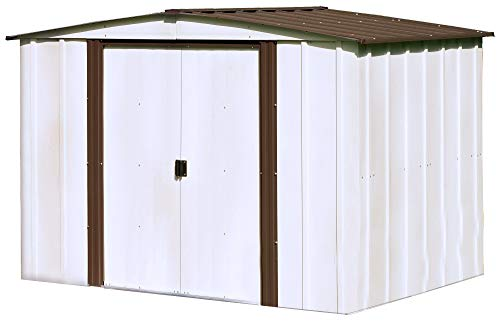 - Arrow 8' x 6' Newburgh Eggshell with Coffee Trim Low Gable Electro-Galvanized Steel Storage Shed
