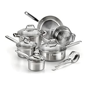 T-Fal Expert Pro 12-Piece Cookware Set, Stainless Steel by BLOSSOMZ