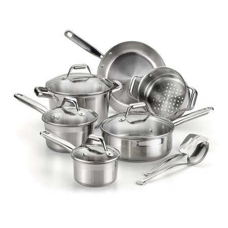 T-Fal Expert Pro 12-Piece Cookware Set, Stainless Steel by BLOSSOMZ (Tfal Steamer Insert compare prices)