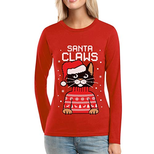 Shirtgeil Da Babbo Claws Lunghe A Maglia Donna Rosso Maniche Santa Natale Gatto rBSrYwxpqR