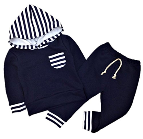 Baby Boy's Navy and Striped Hoodie Sweatshirt and Pants Set Sweatsuit (9-12 months) (Robin Outfit For Babies)