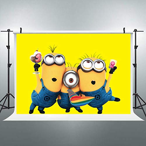 Minions Backdrop Yellow Cartoon Photo Photography Background 7x5ft Animation Decoration Birthday Celebration Kids Themed Party YouTube Photo Booth Studio Props Blush Vinyl Cloth -