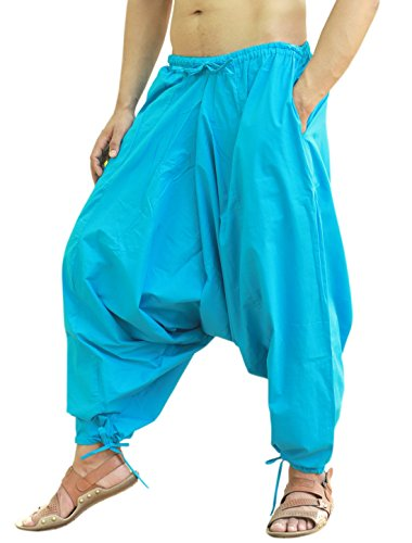 Sarjana Handicrafts Men's Cotton Harem Yoga Baggy Genie Boho Pants (Free Size, Sky Blue)