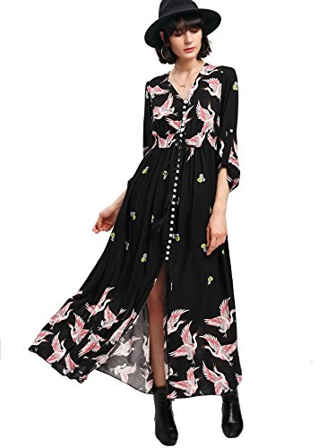 Beautiful People Clothing (Milumia Women's Button Up Split Floral Print Flowy Party Maxi Dress X-Large Black-5)