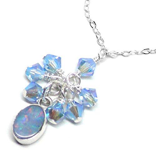Blue Sapphire Doublet - Australian Opal Doublet Sterling Silver Swarovski Dainty Chain Necklace Light-Sapphire-AB2x