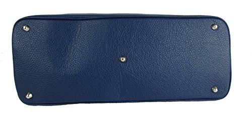 borsa da donna grande classica elegante vera pelle made in italy bugatti ispired blu