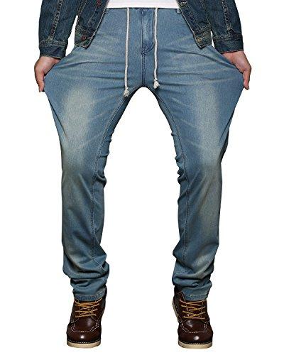 HEMIKS Mens Comfy Stretch Drawstring Elastic Waist Regular Fit Denim Jeans Pants