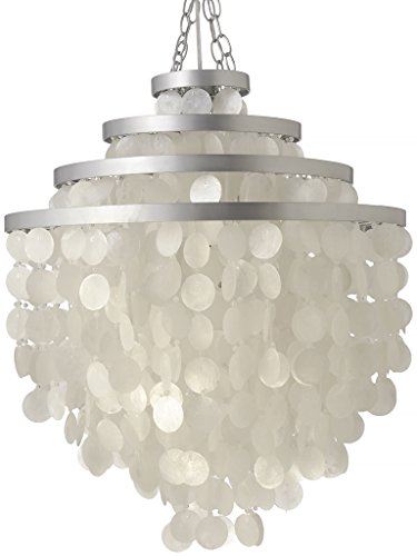 Kouboo Round Layered Chandelier with Hand Cut Capiz Shell, 24 x 26 inch, Natural White