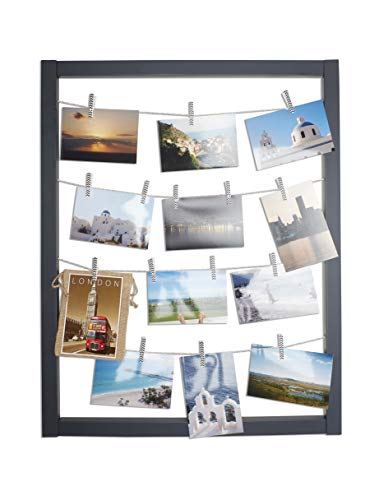 - Reimagine Hanging Photo Display- Wood Wall Picture Frame Collage Board for Hanging Prints, Instax, Holiday Cards, Artwork- Display 2 Ways- Adjustable String, Chevron Clothespin Clips- Gunmetal Grey