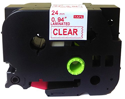 Red on Clear Label Tape Compatible for Brother TZ-152 TZe 152 24mm P-Touch 8m