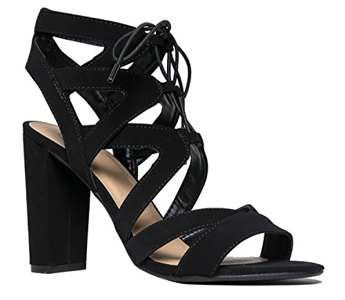 Lace Up Cutout Open Toe High Heel Sandal - Dress Wedding Shoe - Comfortable Pump - Divine by J Adams