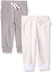 Burt\'s Bees Baby 2 Pack Organic Jogger Pants, Heather Grey, 0-3 Months