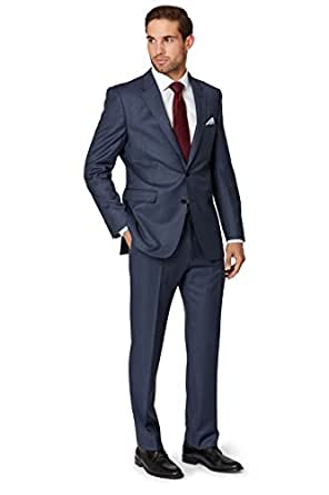 Ermenegildo Zegna Cloth Men's Regular Fit Blue Sharkskin Suit Jacket 46R Blue