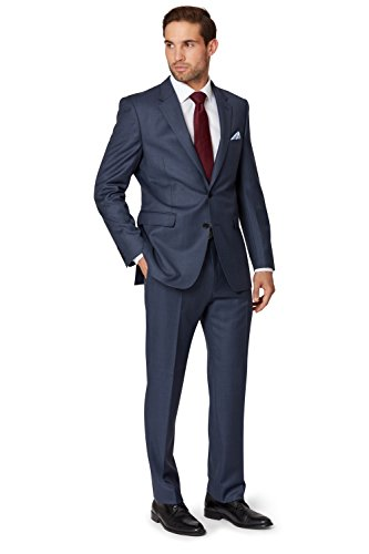Ermenegildo Zegna Cloth Men's Regular Fit Blue Sharkskin Suit Jacket 46R - Zegna Men For
