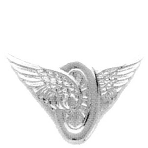 MOTORCYCLE WINGS POLICE HIGHWAY PATROL COLLAR BRASS PINS INSIGNIA EMBLEM NICKEL / SILVER FINISH, 1-1/4