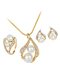 Fashion Imitation Pearl Jewelry Sets Rhinestone Gold Color Necklace Sets for Women Bridal Wedding Earrings