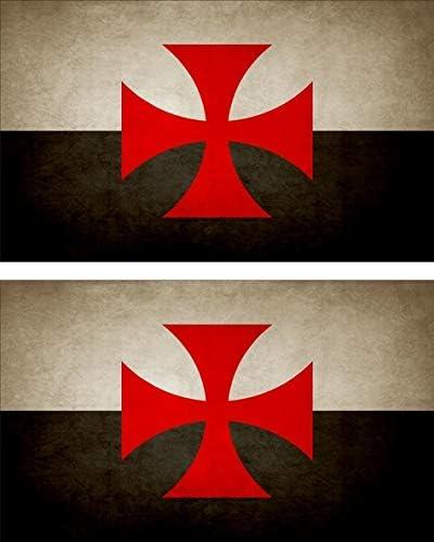 Akachafactory 2x Sticker Aufkleber Flaggen Flagge Fahne Vintage Templer Templeritter Auto
