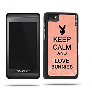 Keep Calm And Love Bunnies Purple - Protective Designer BLACK Case - Fits Apple iPhone 4 / 4S / 4G