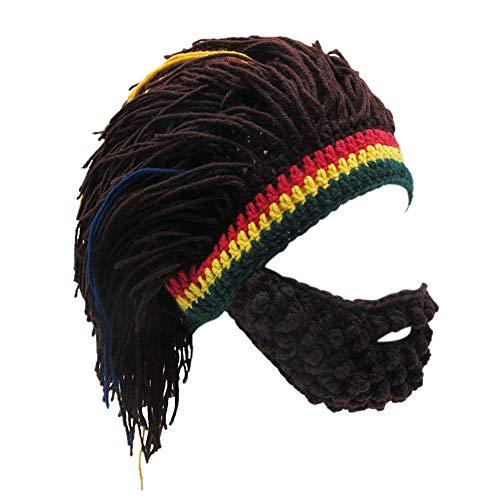 Xinqiao Men's Knit Beard Hats Reggae Hair Style Rasta Headgear Beanie Funny Hats (Coffee) - Ski Rasta