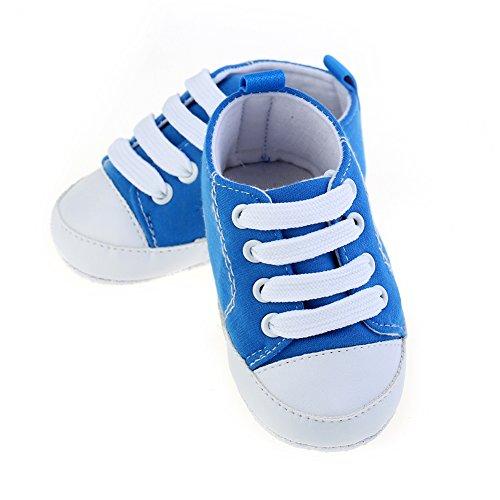 Zapatos de bebé Zapatos para bebé de cuatro estaciones Zapatos suaves para los primeros pasos Tamaño para 0-12 meses Luerme Azul