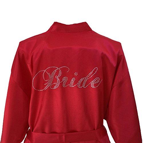 Hibote Robe Matrimonio Sposa Donna Pigiameria Abbigliamento da notte Bianco Abito da sposa Accappatoio Camicia da notte Abito da sera Sleepwear Camicia da notte Vestaglia Burgundy