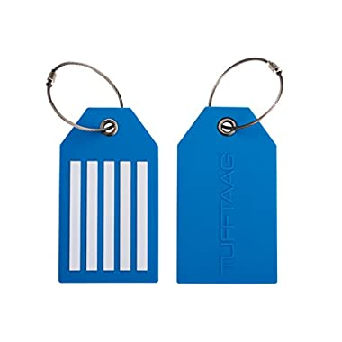 Travel Luggage Suitcase Tags TUFFTAAG - Flexible Tough PVC Baggage Labels - 2pk