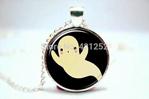 [Pretty Lee 2015 Fashion Ghost Necklace Kawaii Halloween Jewelry Cute Spooky Pendant Glass Cabochon Dome Pendant Necklace 3628 Christmas] (Cute Halloween Ghost Clip Art)