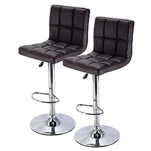 Amazon Com Costway Furniture Swivel Pu Leather Barstools