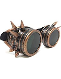 Steampunk Aviator Pilot motorcycle goggles Victorian vintage copper spiked welding Glasses for women men kids