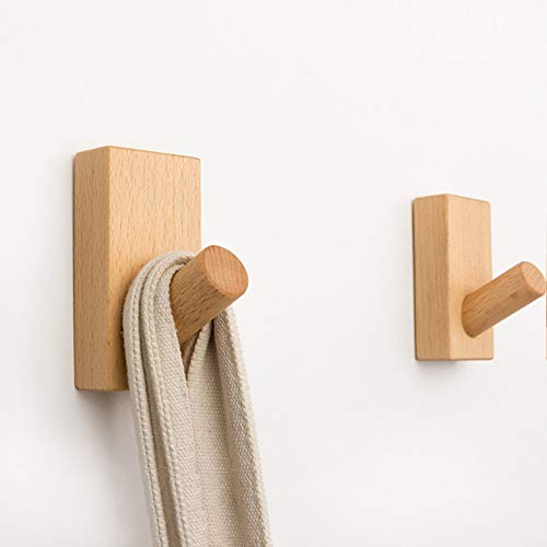 CLEAVE WAVES Wall Mounted Hangers/Natural Wooden Wall Hook Coat Peg Backpack Hanger/Heavy Duty Coat Rack 2PC Beech