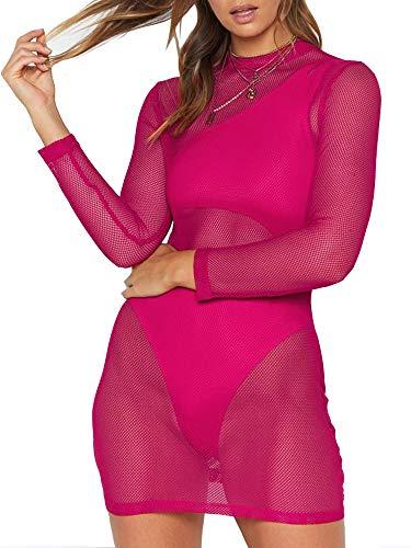 just quella Women's Mesh Lingerie for Women Fishnet Babydoll Mini Dress Long Sleeve Chemise Dress (XXS-3XL) (S, Rose ()