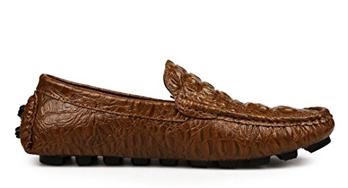 Tda Mens Bekväm Slip På Manuell Krokodil Läder Körning Affärs Penny Loafers Skor Brons