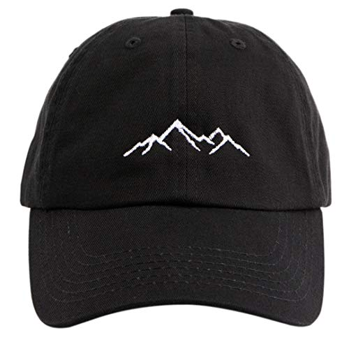 Beanie Bliss Dad Mountain Hat - Comfortable Embroidered Mountains Baseball Cap for Men - Black