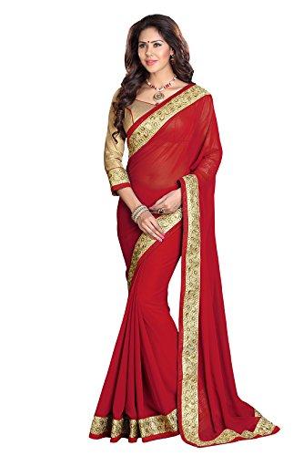 Mirchi Fashion Women's Faux Georgette Zari Party Wear Indian Saree Free Size Red