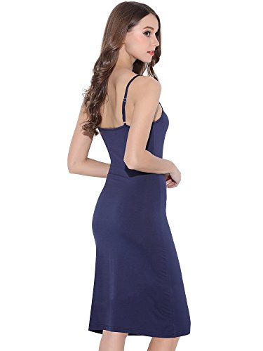 Blue Slip (MSBASIC Women's Adjustable Spaghetti Straps Long Cami Slip Dress (Medium, Navy))