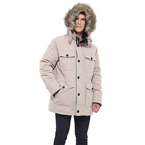 - Rokka&Rolla Men's Water-Resistant Hooded Heavy Insulated Parka Jacket with Removable Faux-Fur Hood Trim