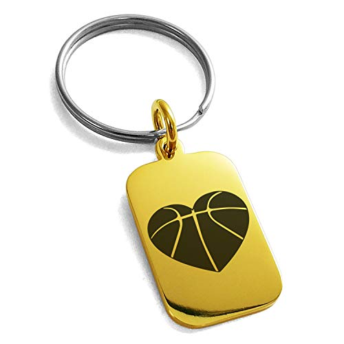 Tioneer Gold Plated Stainless Steel Love Basketball Heart Engraved Small Rectangle Dog Tag Charm Keychain Keyring by Tioneer