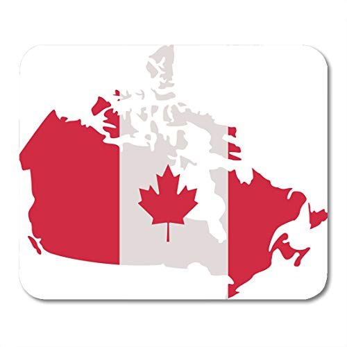 Maple Country Desk (Boszina Mouse Pads America Red Maple Canadian Map with Canada Flag White Silhouette Country Mouse Pad for notebooks,Desktop Computers mats 9.5