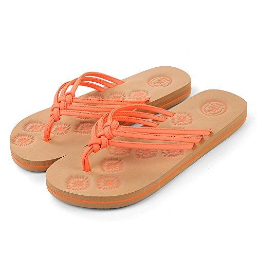 Flop Orange Aerusi Flip Women's Braided Thong Sandals Coral OUIRnH