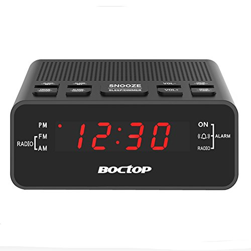 "Alarm Clock Radio, Digital Alarm Clock, AM/FM Radio with Snooze, Sleep Timer, Dimmer, 0.6"" Digital LED Display and Battery Backup Function for Bedroom, Office, Table and Desk"